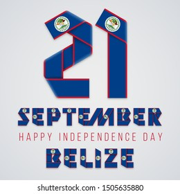 Congratulatory design for September 21, Belize Independence Day. Text made of folded ribbons with Belize flag elements. Vector illustration.