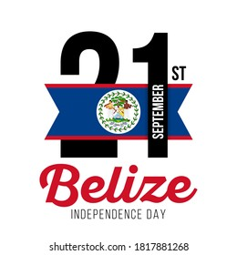 Congratulatory design for September 21, Belize Independence Day and text in the colors of the Belize flag. Vector illustration