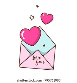 Congratulatory envelope with pink hearts and stars to the day of the holy valentine. Linear art for printing on clothing, stickers, postcards and other surfaces.