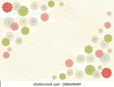 Congratulatory illustration of chrysanthemum, haze and blue sea waves.