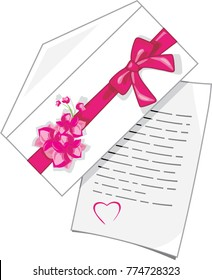 Congratulatory letter to Valentines Day. Vector