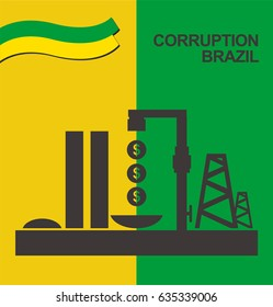 Congress Brazilian corruption petroleum money Brazil vector