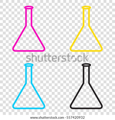 e4090525fc70 Conical Flask Sign CMYK Icons On Stock Vector (Royalty Free ...