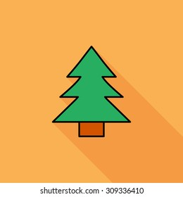 Conifer icon. Flat vector related icon with long shadow for web and mobile applications. It can be used as - logo, pictogram, icon, infographic element. Vector Illustration.