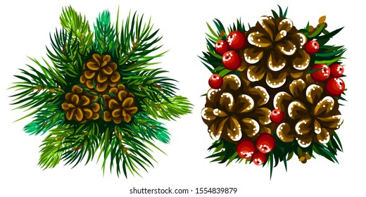 Coniferous  branches and cones. Set of winter decorations from coniferous branches and cones on a white background.