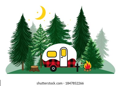 Coniferous forest, crescent moon, stars, campfire and Buffalo plaid camper. Hand drawn vector illustration.
