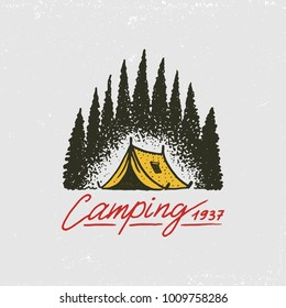 coniferous forest, mountains and wooden logo. camping and wild nature. landscapes with pine trees and hills. emblem or badge, tent tourist, travel for labels. engraved hand drawn in old vintage sketch