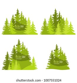 Coniferous forest silhouette template. Environmentally friendly world. Illustration of ecology the concept of info graphics.