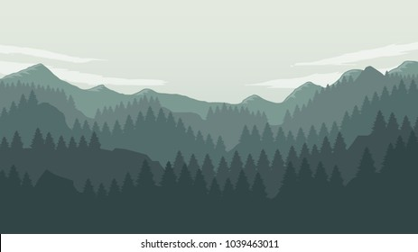 Coniferous forest silhouette template landscape with mountains,  sky and woods . Panorama background