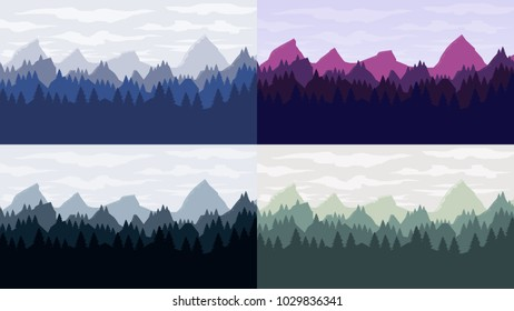 Coniferous forest silhouette template landscapes set with mountains,  sky and woods . Panorama background