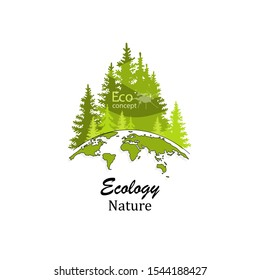 Coniferous forest silhouette template. Logo design template of forest and globe. Doodle Globe. The concept of ecology, to save the planet. Eco friendly. Environmentally friendly world. Drawn. Vector.