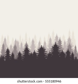 Coniferous forest silhouette template. Vector illustration