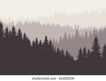 Coniferous forest silhouette template. Vector illustration of trees in pastel brown tone
