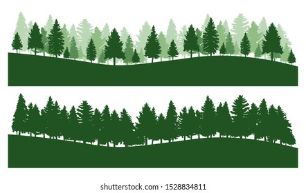 Coniferous forest, vector silhouette  - Trees pine, fir, spruce, christmas tree.
