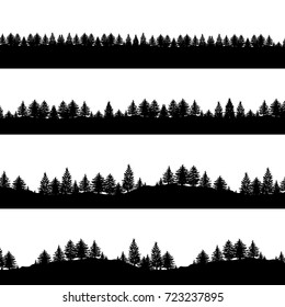 Coniferous trees silhouettes backgrounds vector illustration. Set of horizontal abstract banners of wood hills in black and white.
