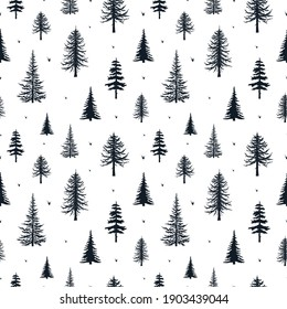 Coniferous trees silhouettes seamless pattern. Conifer texture for fabric. Vector isoleted background with hand drawn evegreen forest, firs and pines.