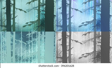 Coniferous wood,realistic sketch,tree silhouette,fog,polar lights.Hand drawn Vector illustration of Coniferous Forest.Card Design of year seasons:spring,summer,winter, autumn.Vintage forest template.