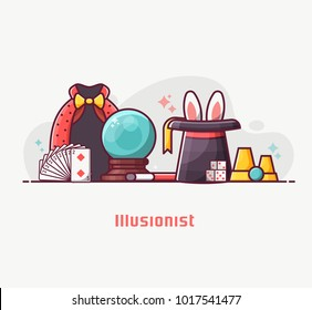 Conjurer or illusionist lifestyle banner with magician performance equipment. Such as black hat with rabbit ears, mystic ball, wand, playing cards and dice. Magic show concept illustration in flat.
