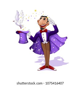 A conjurer in a purple tuxedo and a lilac cloak with stars holds a magic hat. A white dove flies out of the hat. Magic, stars. A circus character in the style of a cartoon. Vector Illustration.