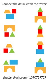 Connect the details and towers, different geometric shapes for children, fun education game for kids, preschool worksheet activity, task for the development of logical thinking, vector illustration