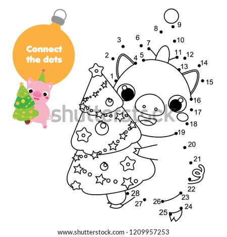 Connect Dots By Numbers Children Educational Stock Vector Royalty