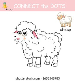 Connect the dots by numbers to draw Sheep. Dot to dot Game with sample. Game and Coloring Page with cartoon cute Sheep. Logic Games for Kids. Education card for kids learning counting number 1-15.