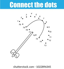 Connect the dots children educational drawing game. Dot to dot by numbers game for kids. Printable worksheet activity for toddlers with umbrella