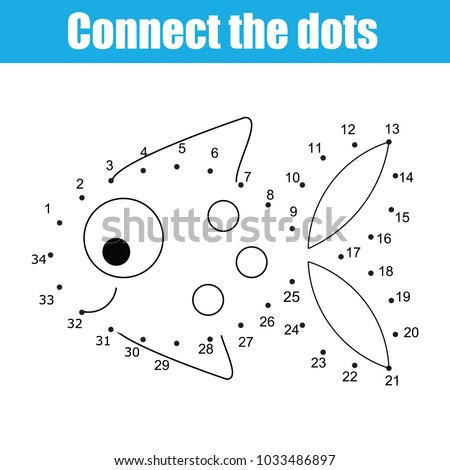 Connect Dots Children Educational Drawing Game Stock Vector Royalty