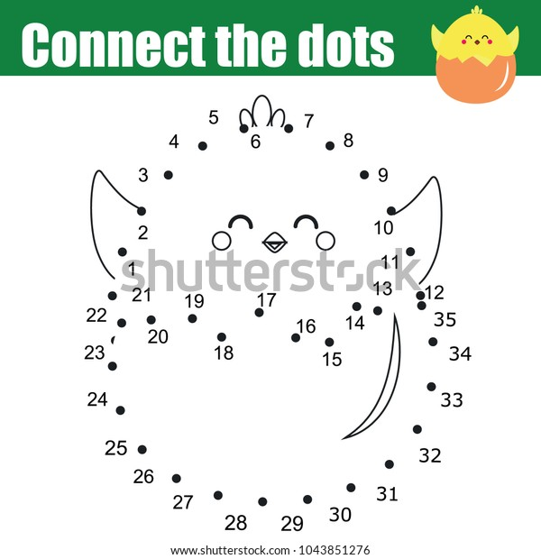 Connect Dots Children Educational Drawing Game Stock Vector (Royalty Free)  1043851276