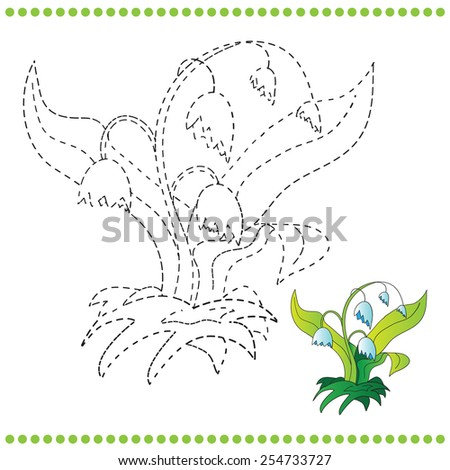 Connect Dots Coloring Page Grass Flowers Stock Vector Royalty Free