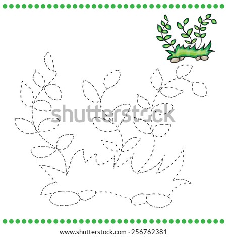 Connect Dots Coloring Page Grass Stock Vector Royalty Free