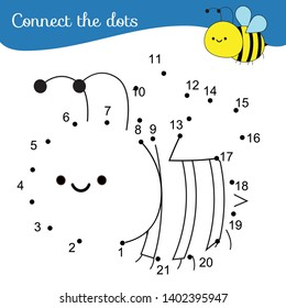Connect the dots. Dot to dot by numbers activity for kids and toddlers. Children educational game. Cute bee