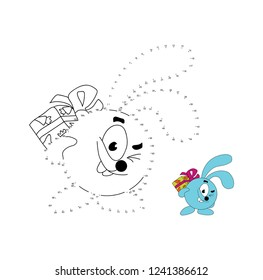 Connect the dots to draw the animal educational game for children bunny rabit  illustration