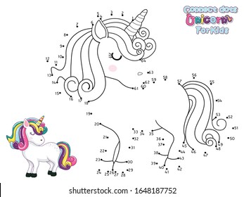 Connect The Dots and Draw Cute Cartoon Unicorn. Educational Game for Kids. Vector Illustration With Cartoon Animal Characters