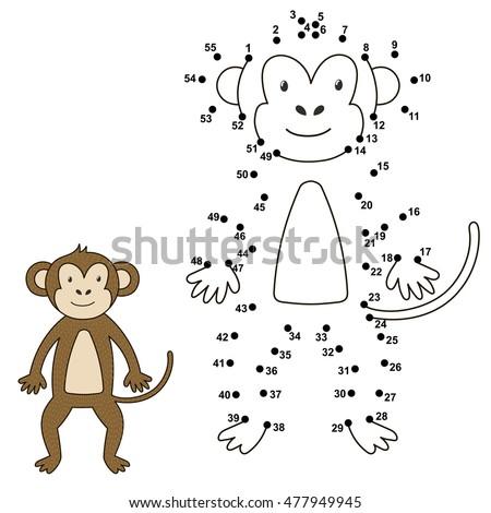 connect dots draw cute monkey color のベクター画像素材