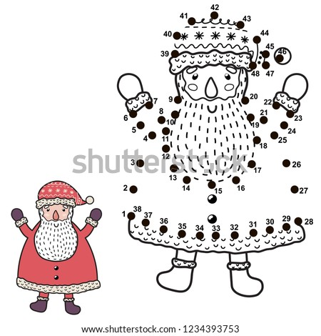 61f009cbbed67 Connect the dots and draw a funny Santa Claus. Christmas numbers game for  children.