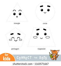Connect the dots, education game for children. Geometric shapes - triangle, circle, pentagon, trapezoid
