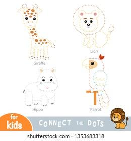 Connect the dots, education game for children. Safari animals set - Giraffe, Lion, Hippo, Parrot