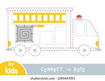 Connect the dots, education game for children, Fire engine