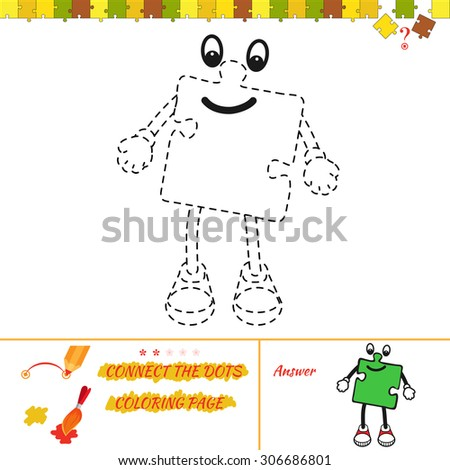 Connect Dots Picture Puzzle Coloring Page Stock Vector Royalty Free