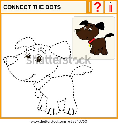 Connect Dots Preschool Exercise Task Kids Stock Vector Royalty Free