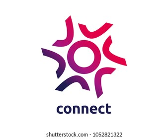 Connect, global network and cooperation  logo in the form of stars. Teamwork social idea. Partnership and alliance symbol.