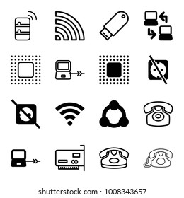 Connect icons. set of 16 editable filled and outline connect icons such as laptop connection, no plug, chip, wi-fi, connection, desk phone, flash drive, phone connection cable