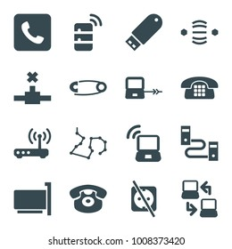 Connect icons. set of 16 editable filled connect icons such as laptop connection, desk phone, flash drive, phone connection cable, cable, call, router, laptop signal, server