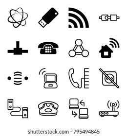 Connect icons. set of 16 editable filled and outline connect icons such as home connection, wi-fi, network connection, usb drive, desk phone, no plug, plug in power socket
