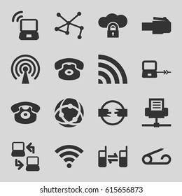 Connect icons set. set of 16 connect filled icons such as laptop connection, pin, connection, wi-fi, desk phone, connected phone, laptop signal, signal, cloud protection