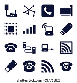 Connect icons set. set of 16 connect filled icons such as laptop connection, connection, wi-fi, desk phone, flash drive, call, usb drive, chip, laptop signal, signal