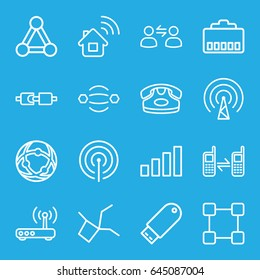 Connect icons set. set of 16 connect outline icons such as connection, desk phone, connected phone, flash drive, router, user communicatrion, signal, home connection