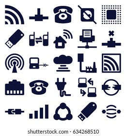 Connect icons set. set of 25 connect filled icons such as laptop connection, wi-fi, desk phone, connected phone, flash drive, usb drive, chip, plug, connection, signal