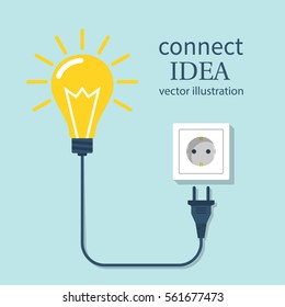 Connect idea. Bulb light, cord electrical plug connected to power socket. Plug in to wall socket. Vector illustration flat design. Isolated on background.